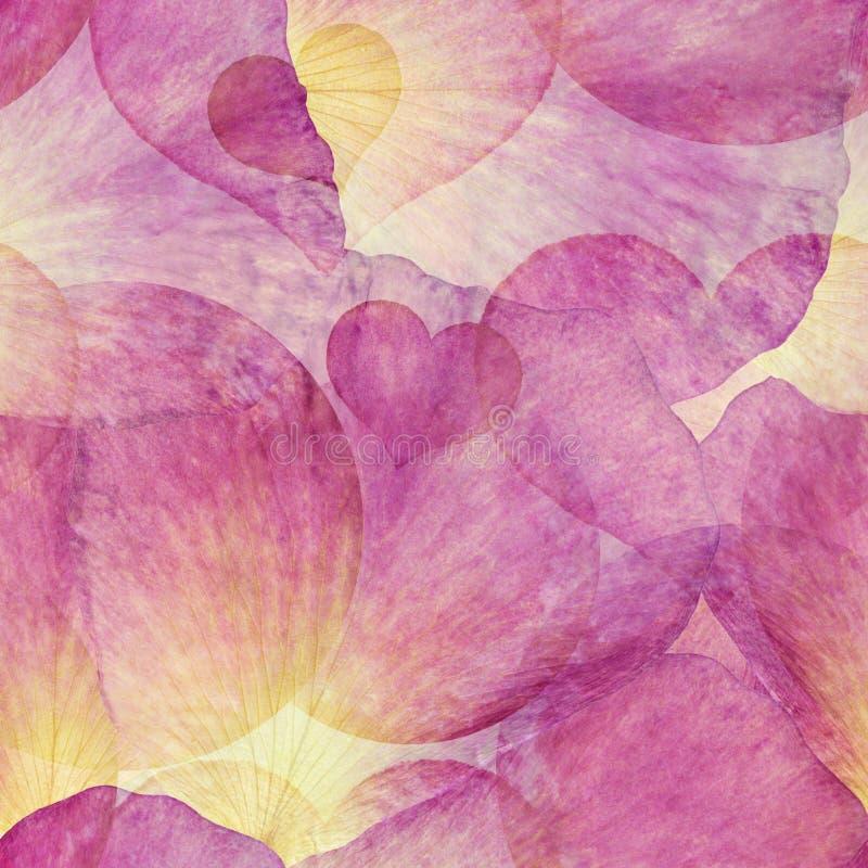 剪贴薄的明亮的无缝的五颜六色的样式 与手工制造水彩的拼贴画弄脏,心脏,玫瑰花瓣 细麻花布 皇族释放例证