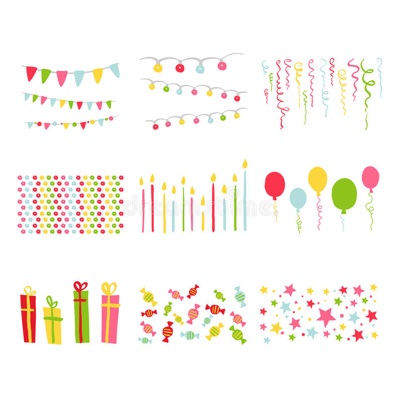 剪贴薄设计元素生日聚会集合 库存例证