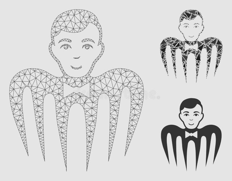 副主持人幽灵妖怪传染媒介滤网尸体模型和三角马赛克象 向量例证