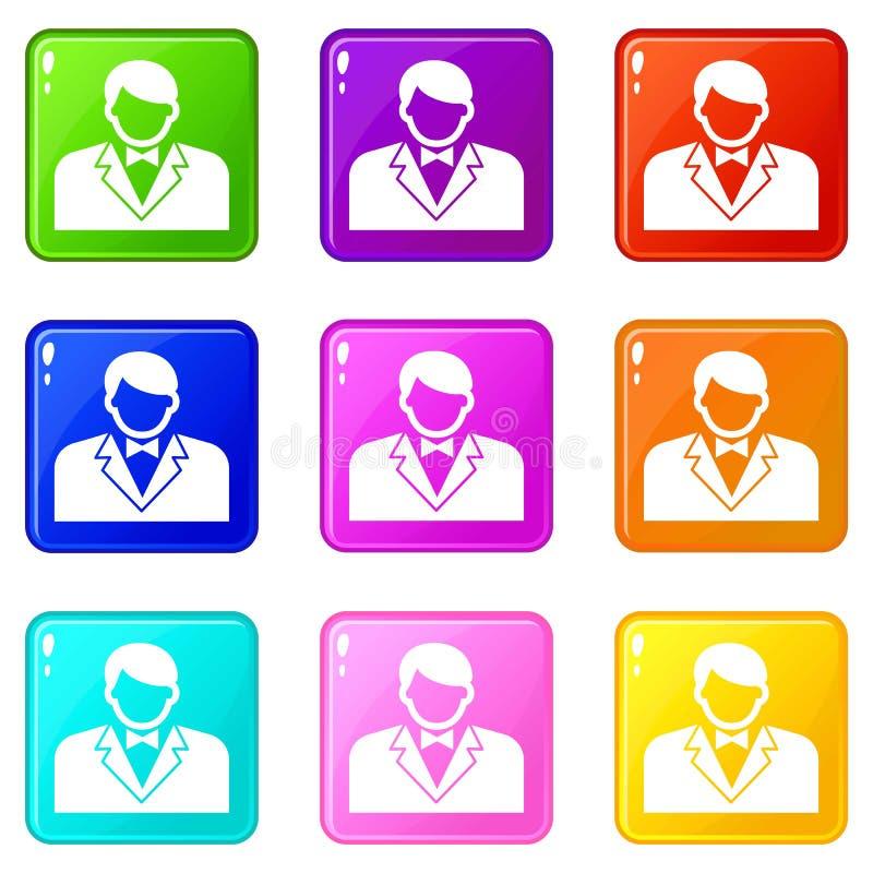 副主持人象设置了9种颜色汇集 库存例证