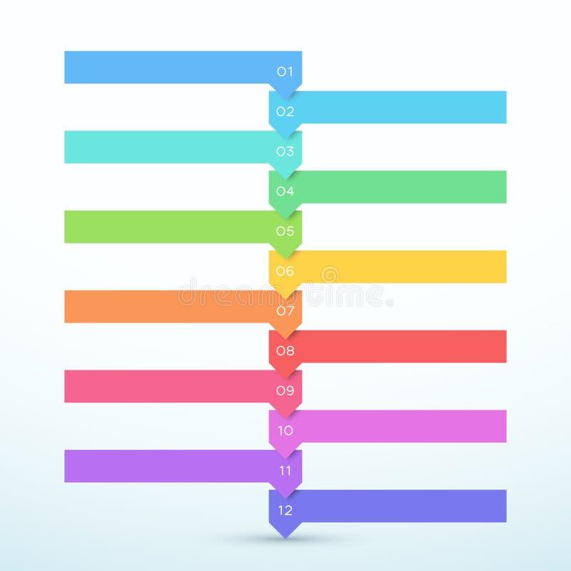 12副步箭头名单五颜六色的横幅Infographic图 库存例证