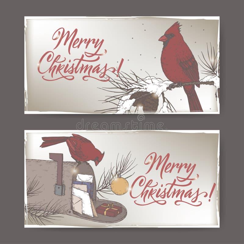 2副颜色圣诞节横幅与主要鸟、邮箱、杉木分支和假日掠过字法 皇族释放例证