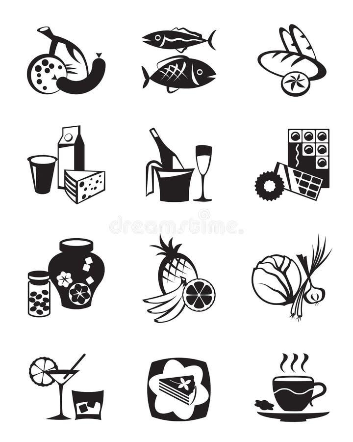 副食品图标被设置的存储 库存例证