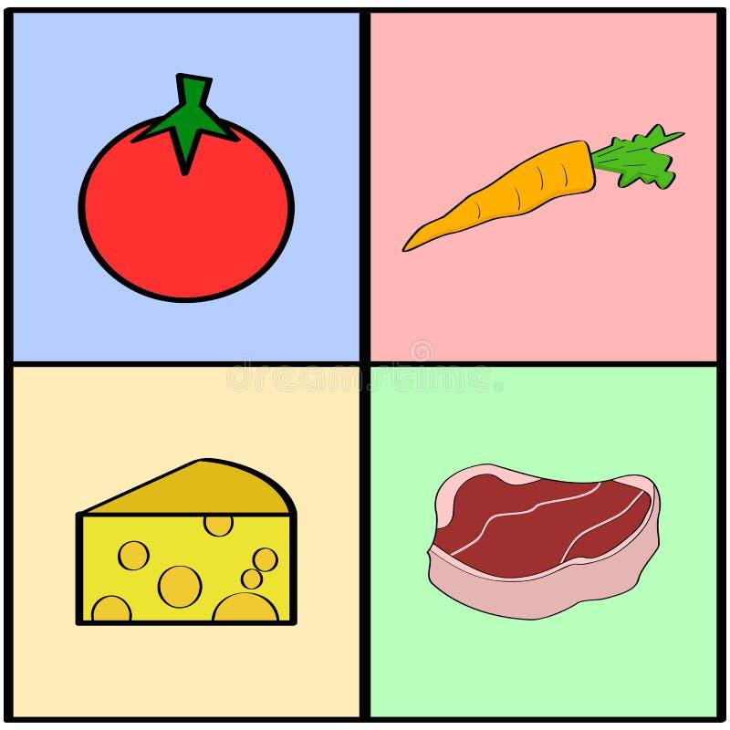 副食品正方形 向量例证