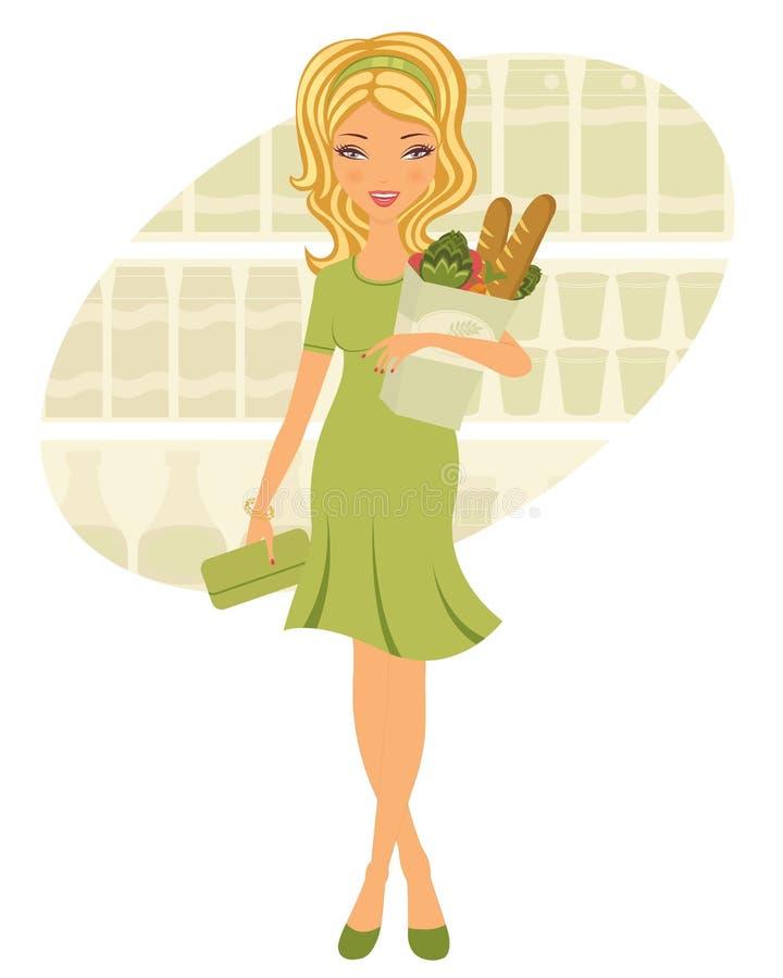 副食品的俏丽的妇女购物 库存例证