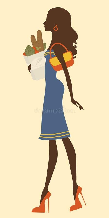 副食品的美好的妇女购物 库存例证