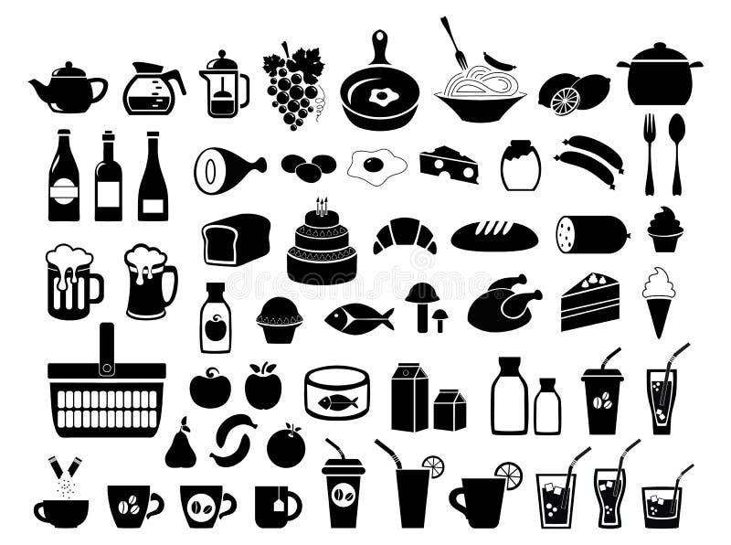 副食品 食物 被设置的图标 在空白背景查出的向量例证 皇族释放例证