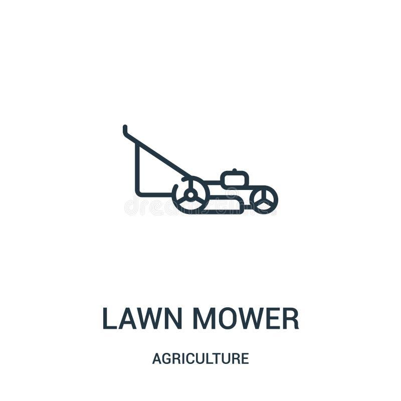 割草机从农业汇集的象传染媒介 稀薄的线割草机概述象传染媒介例证 线性标志为使用 皇族释放例证