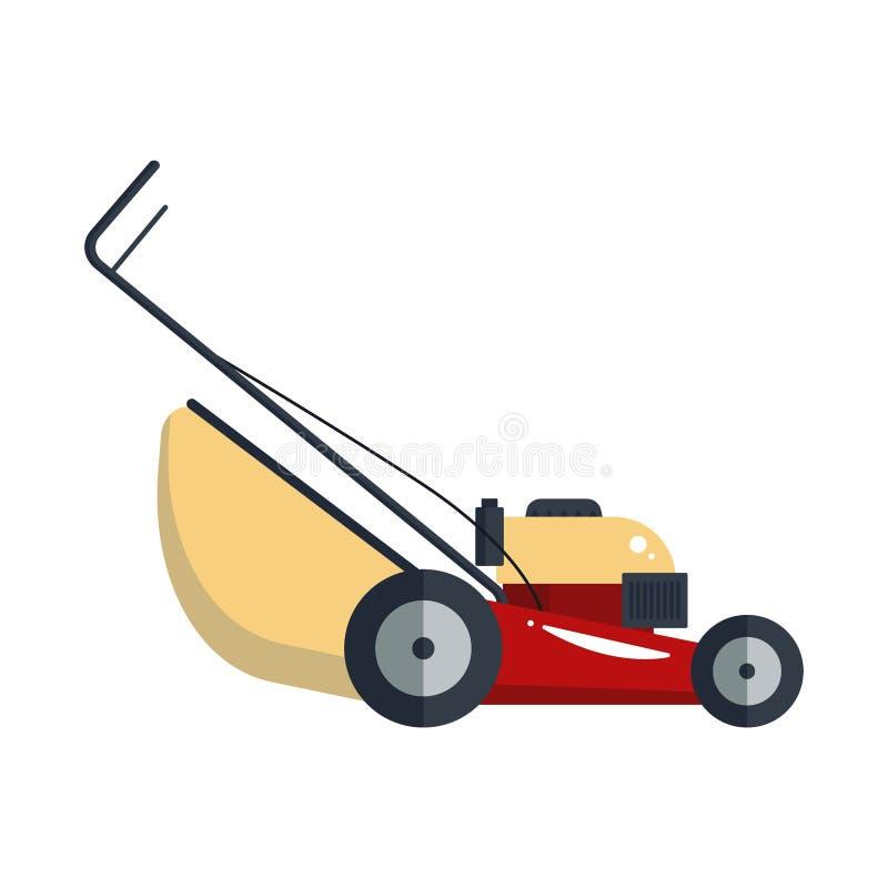 割草机机器象技术在白色背景隔绝的设备工具,从事园艺的草切削刀后勤股票 向量例证