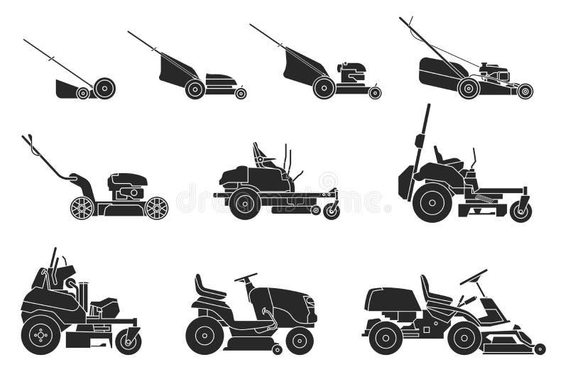 割草机的各种各样的类型在白色背景隔绝的 免版税图库摄影