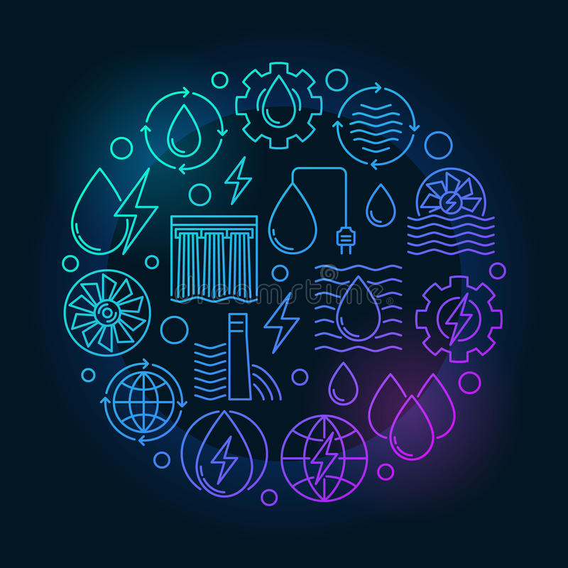水力发电五颜六色的例证 向量例证