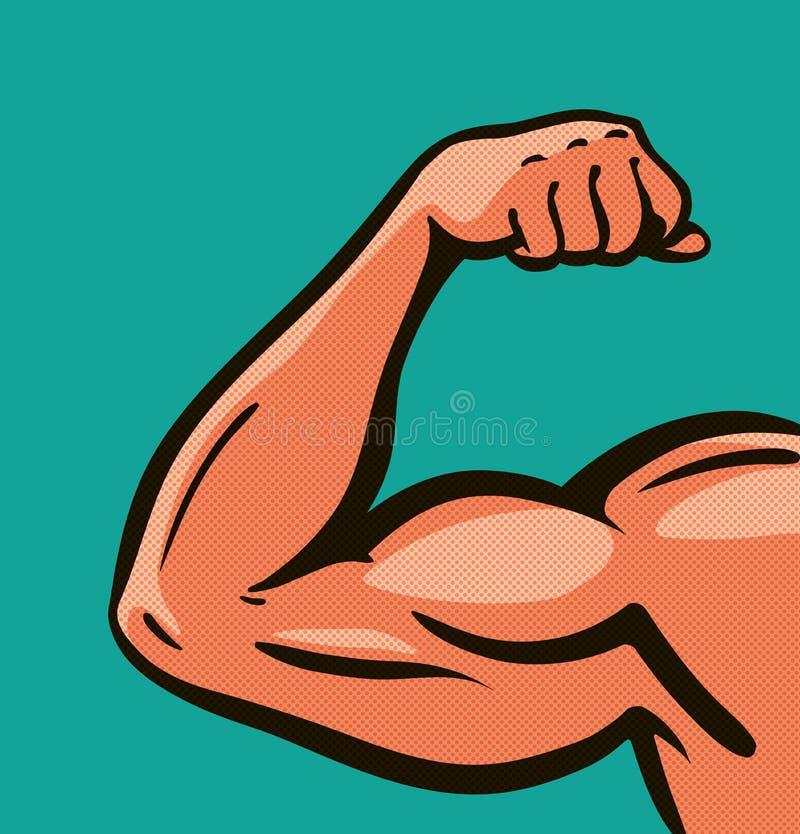 力臂,肌肉,健身房 漫画样式设计 也corel凹道例证向量 向量例证