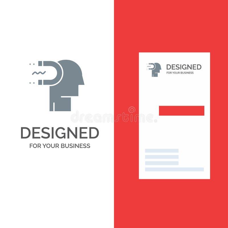 力量、影响、订婚、人、影响、铅灰色商标设计和名片模板 库存例证