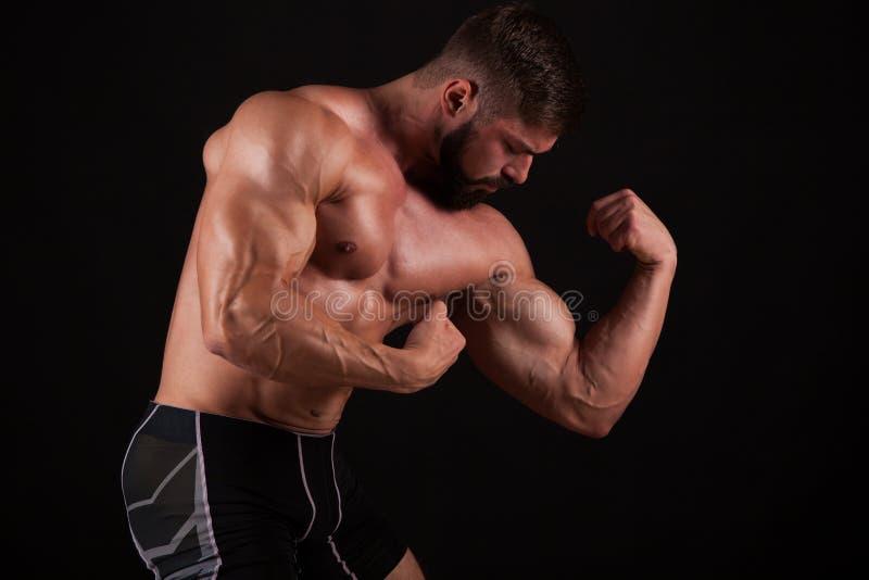力量健身人` s手的特写镜头 坚强的英俊的年轻爱好健美者展示他的肌肉和二头肌 库存图片