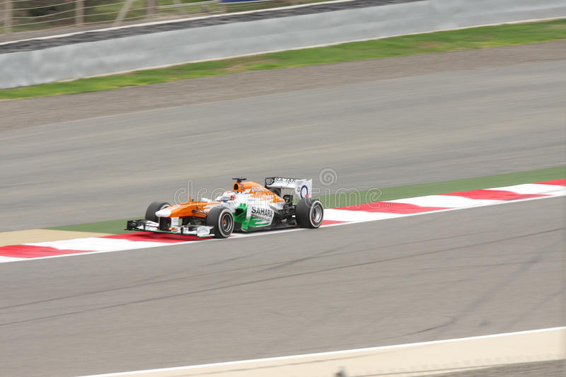 力量印度默西迪丝赛跑的保罗di Resta 免版税库存照片