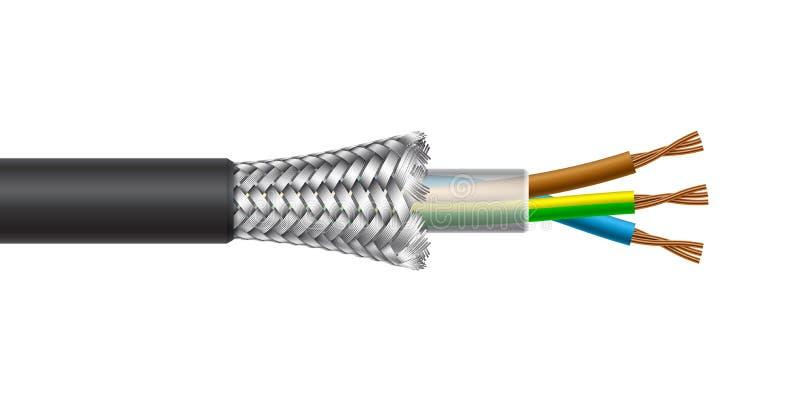力量多芯电缆结构 也corel凹道例证向量 皇族释放例证