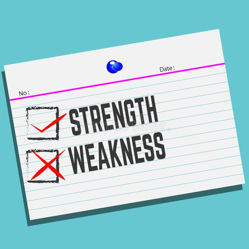 力量或弱点在纸与创造性的设计您的贺卡的 皇族释放例证