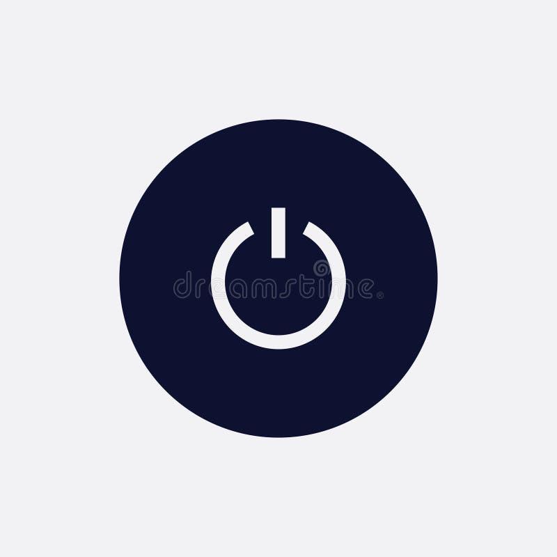 力量按钮象,传染媒介例证 平的圆的象 库存例证