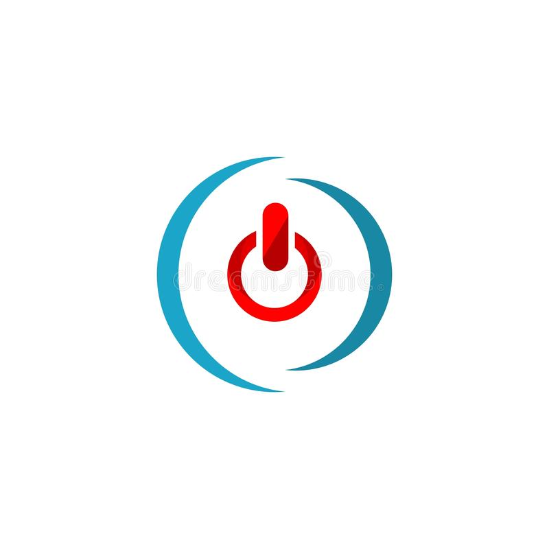 力量按钮象 商标元素例证 力量按钮标志设计 色的收藏 力量按钮概念 能用于 皇族释放例证