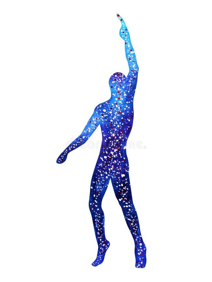 力量能量姿势的人的培养手,抽象宇宙天空 免版税库存照片