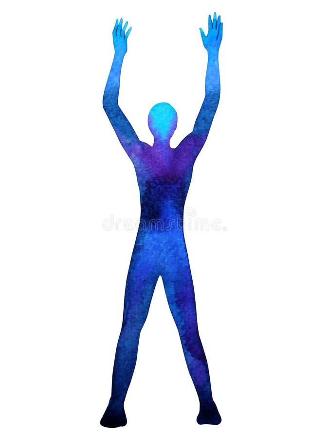 力量能量的人的身分培养手摆在,抽象身体 免版税库存图片