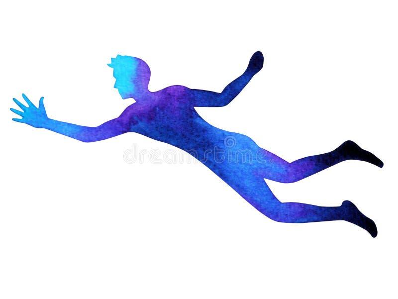 力量能量的人的飞行培养手摆在,抽象身体 库存例证