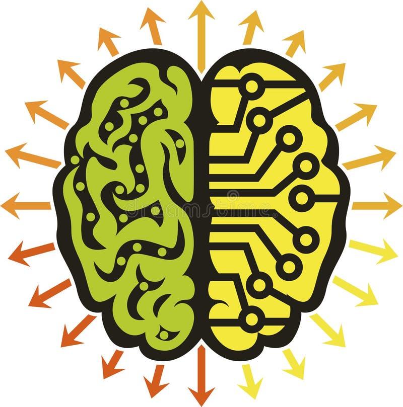 力量脑子商标 库存例证