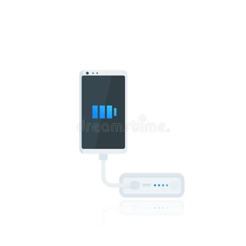 力量银行和智能手机,便携式的手机充电器 库存例证