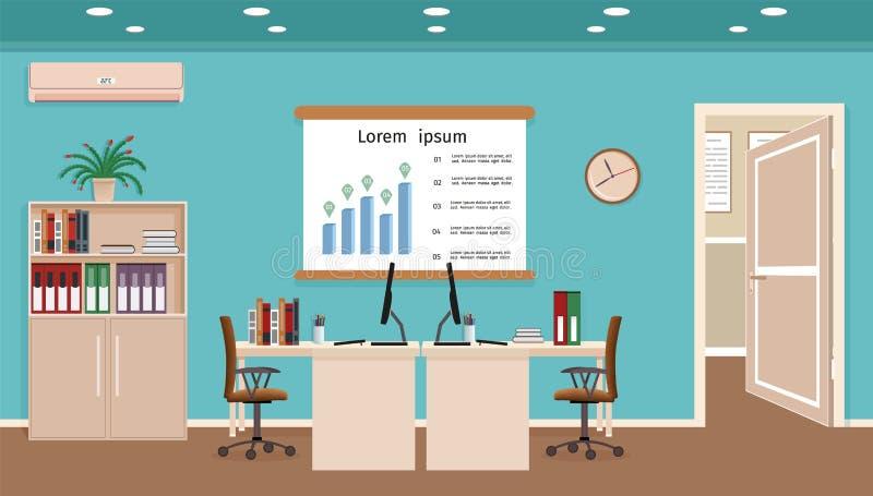 办公室与两个工作区工作场所组织的室内部在与家具的营业所运作的内阁设计 库存例证