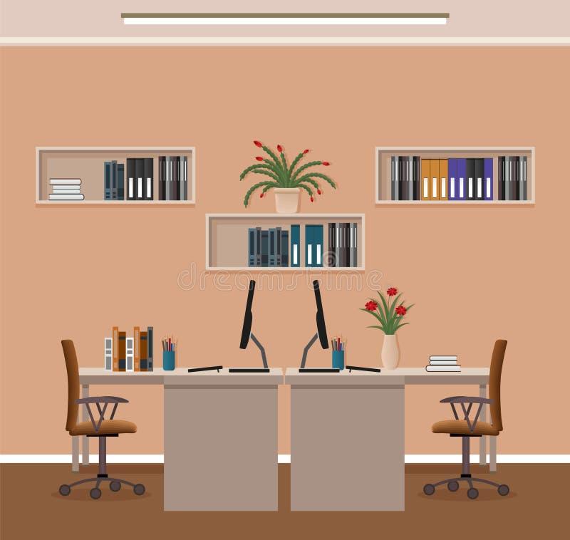 办公室与两套工作区和家具的室内部 工作场所组织在营业所 库存例证