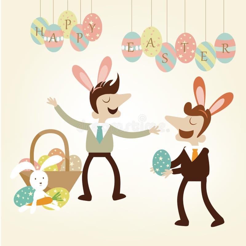 办公室与商人的复活节党享用欢乐 免版税库存照片