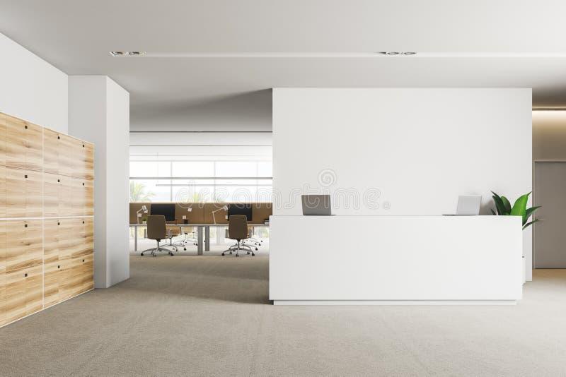 办公室与衣物柜的接纳地区 向量例证