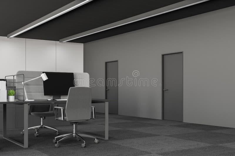 办公室与计算机书桌的工作场所内部 库存例证