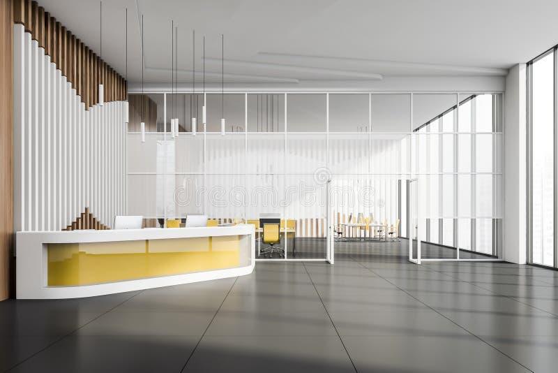 办公室与黄色桌的接纳地区 库存例证