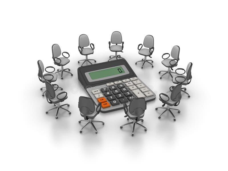 办公室主持与计算器的会议 库存例证