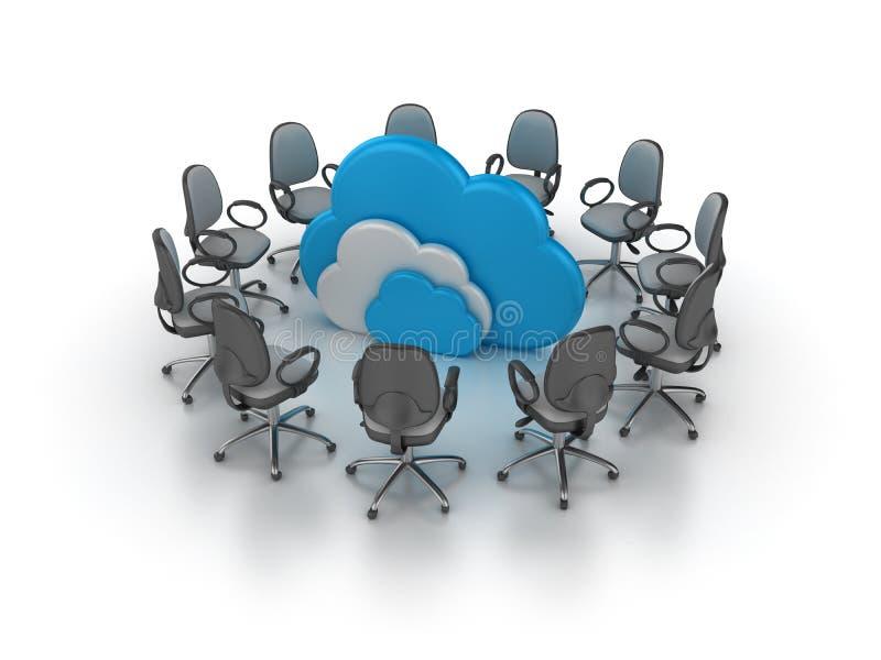 办公室主持与计算的云彩的会议 向量例证