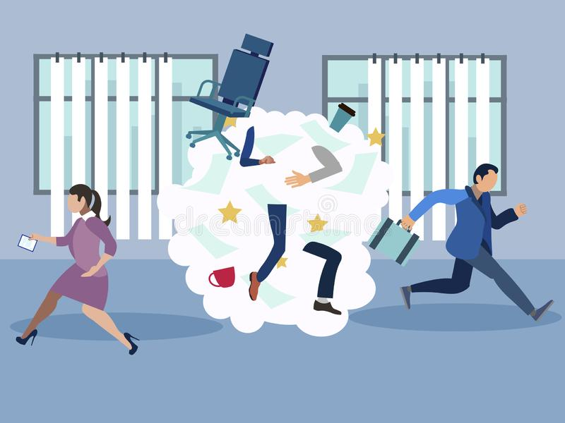 办公室争吵,丑闻,雇员从否定性地方逃跑 r r 库存例证
