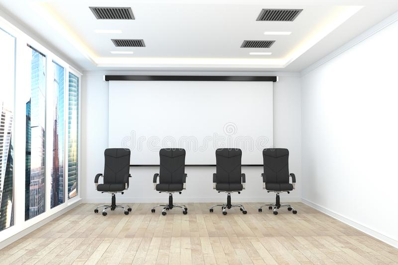 办公室事务-美丽的会议室候选会议地点和会议桌,现代样式 3d?? 皇族释放例证
