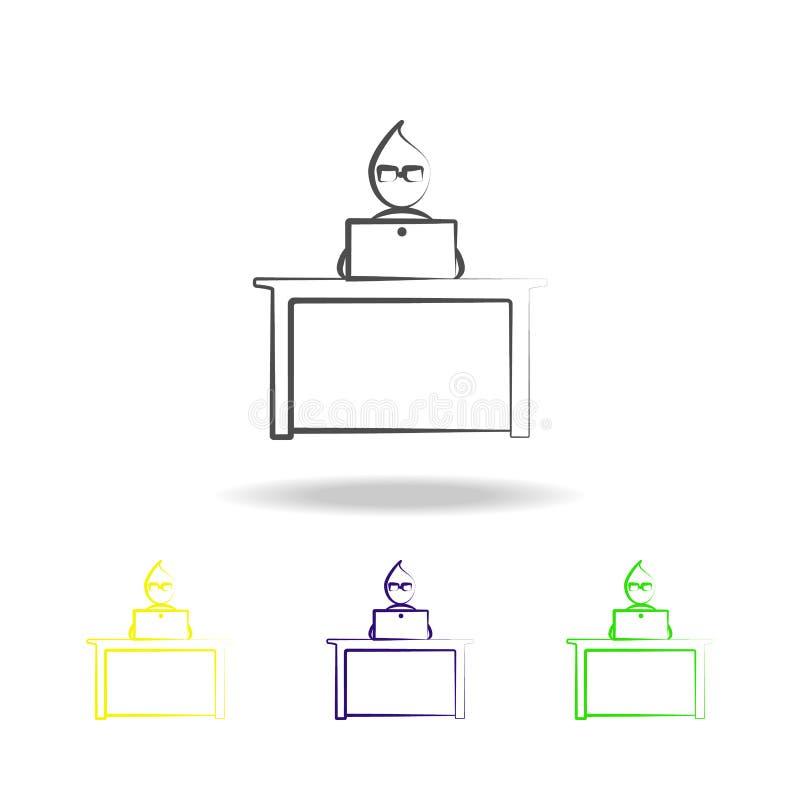 办公室人笔记本工作概述上色了象 办公室生活例证的元素 标志和标志汇集象为 库存例证