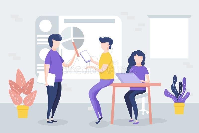办公室会议,工作者谈论项目,图,图表 向量例证