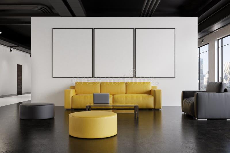 办公室候诊室:沙发,画廊,前面 库存例证