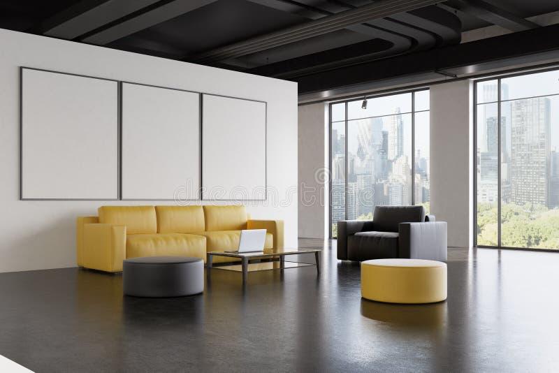 办公室候诊室:沙发,画廊,边 向量例证