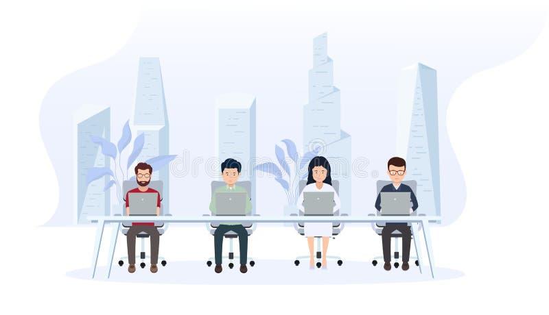 办公室内部与雇员 与后边一个大窗口和一个现代城市的创造性的办公室工作区 向量例证
