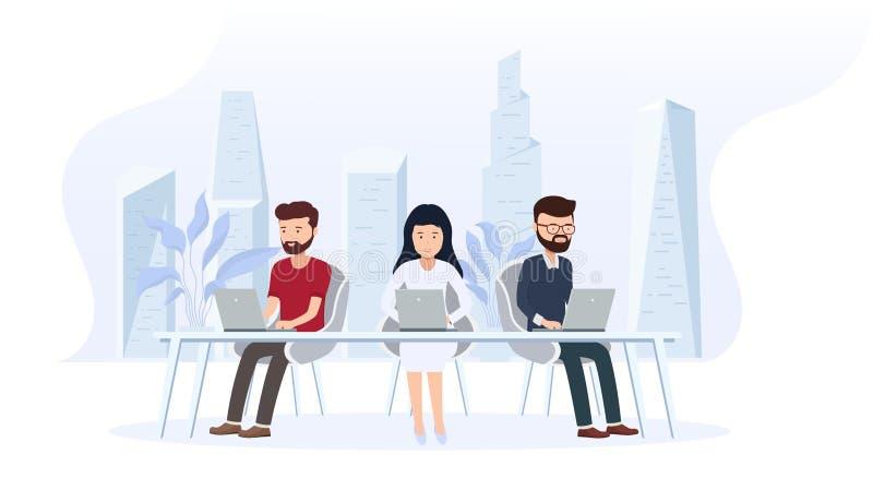 办公室内部与雇员 与后边一个大窗口和一个现代城市的创造性的办公室工作区 皇族释放例证