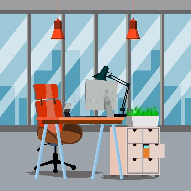 办公室内部传染媒介 现代企业工作区 有家具的办公室 平的例证 库存例证