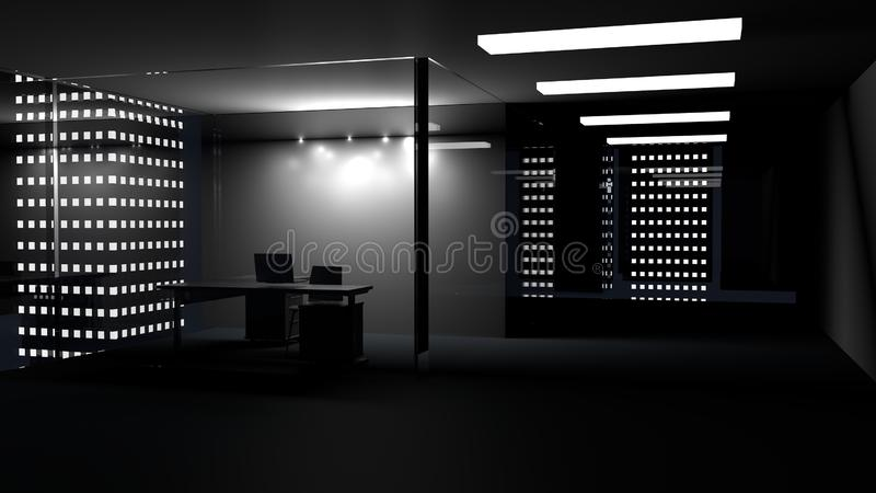 办公室内部侧视图与空白的whiteboard的在玻璃后 3d回报 向量例证