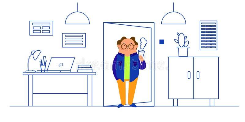 办公室内部,书桌,膝上型计算机,灯,衣橱,桌,盆的仙人掌的传染媒介例证  皇族释放例证