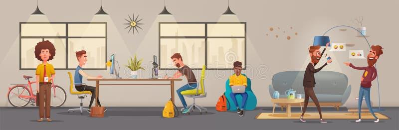 办公室内部 现代公寓斯堪的纳维亚人或顶楼设计 外籍动画片猫逃脱例证屋顶向量 向量例证