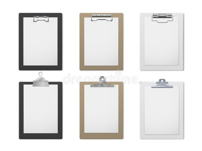 办公室剪贴板现实集合、文件和纸持有人 库存例证