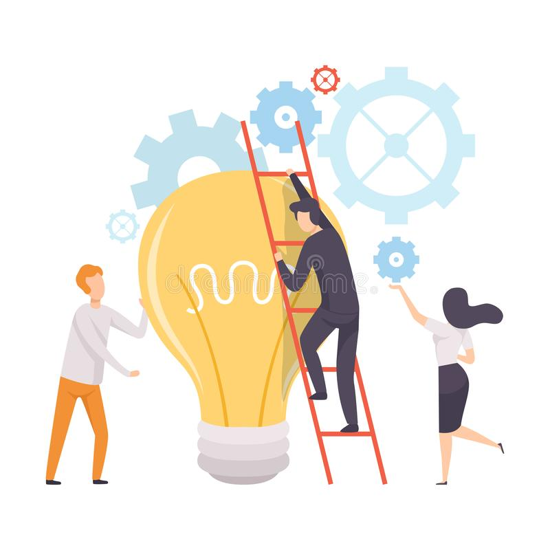 办公室同事工作在新的项目的,对大灼烧的电灯泡,配合,激发灵感的人上升的梯子 库存例证